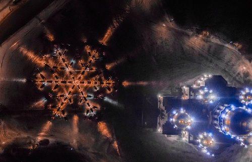 Новочеркасские автолюбители выстроились в огромную снежинку